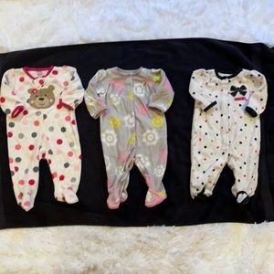 $2 Sale Lot of Girls Footed Fleece Sleepers